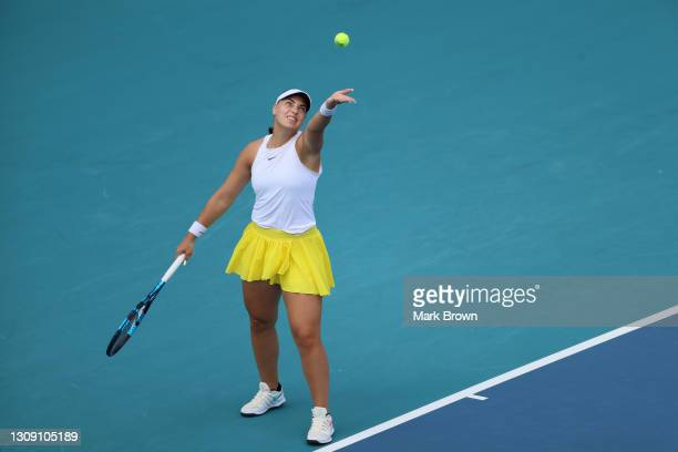 Ana Konjuh of Coatia serves during her singles second round match against Madison Keys of the United States on Day 4 of the 2021 Miami Open presented...