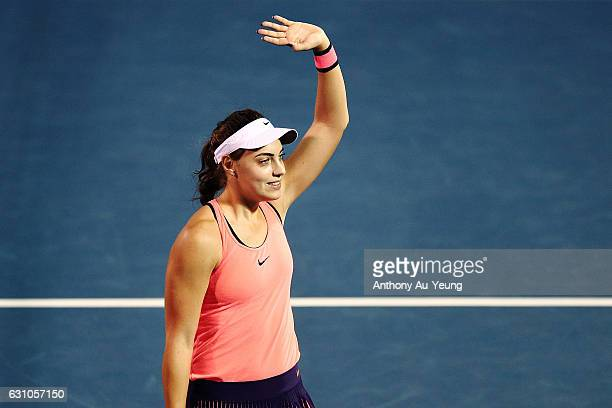 Ana Konjuh of Croatia celebrates after winning her semi final match against Julia Goerges of Germany on day five of the ASB Classic on January 6 2017...