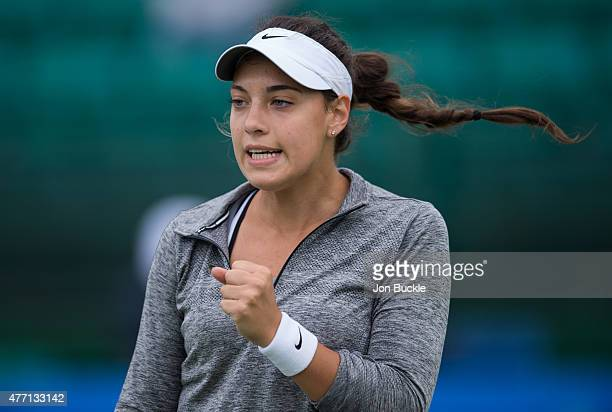 Ana Konjuh of Croatia celebrates match point during her match against Alison Riske of USA on day seven of the WTA Aegon Open Nottingham at Nottingham...