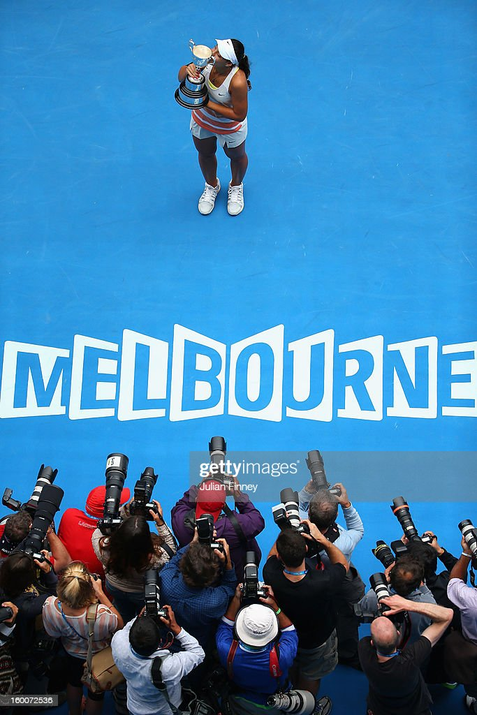 Ana Konjuh of Croatia kisses the championship trophy after winning her junior girls' final match against Katerina Siniakova of the Czech Republic during the 2013 Australian Open Junior Championships at Melbourne Park on January 26, 2013 in Melbourne, Australia.