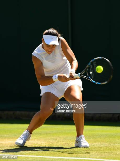 Ana Konjuh of Croatia plays a backhand during the Ladies Singles second round match against IrinaCamelia Begu of Romania on day three of the...