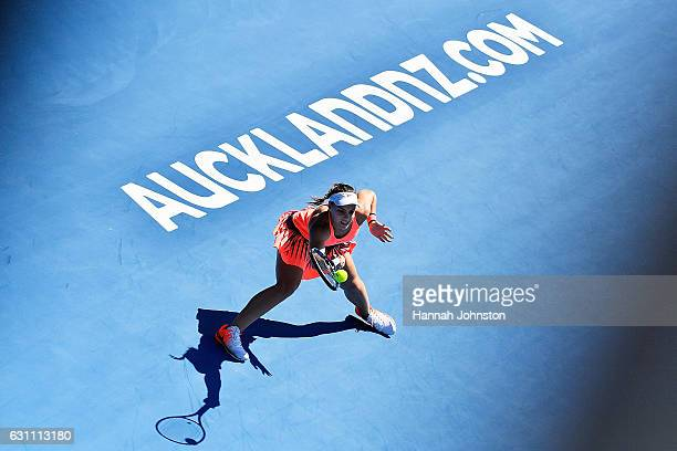 Ana Konjuh of Croatia plays a forehand during the womens singles final against Lauren Davis of the USA during day six of the ASB Classic on January 7...