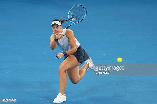 Ana Konjuh of Croatia plays a forehand in her match against Elina Svitolina of Ukraine during day four of the 2018 Brisbane International at Pat...