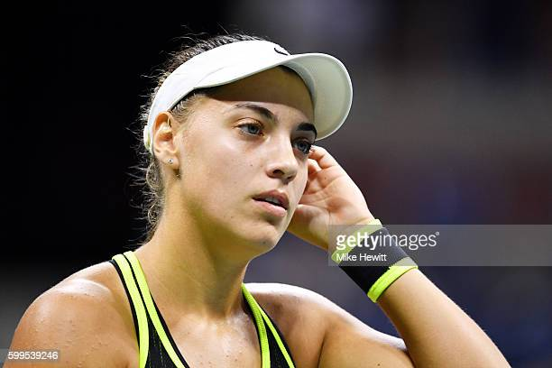 Ana Konjuh of Croatia reacts against Agnieszka Radwanska of Poland during her fourth round Women's Singles match on Day Eight of the 2016 US Open at...