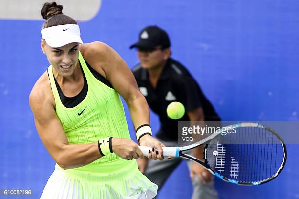 Ana Konjuh of Croatia returns a shot against Grace Min of the United States during the qualifying match of 2016 WTA Dongfeng Motor Wuhan Open at...