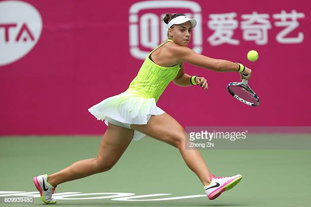 Ana Konjuh of Croatia returns a shot against Jelena Jankovic of Serbia on Day 5 of WTA Guangzhou Open on September 23 2016 in Guangzhou China