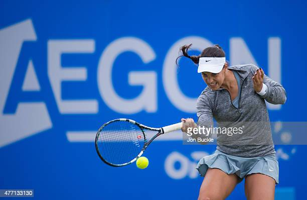 Ana Konjuh of Croatia returns a shot during her match against Alison Riske of USA on day seven of the WTA Aegon Open Nottingham at Nottingham Tennis...