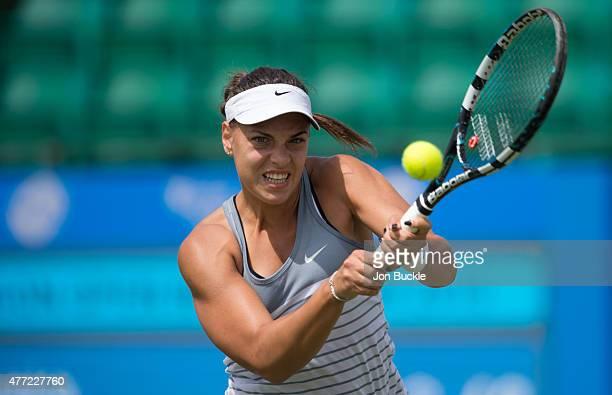 Ana Konjuh of Croatia returns a shot during her match against Monica Niculescu of Romania at Nottingham Tennis Centre on June 15 2015 in Nottingham...