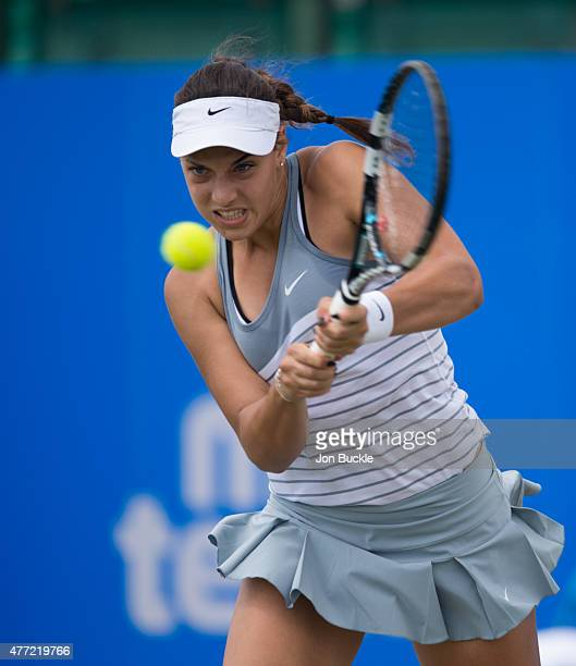 Ana Konjuh of Croatia returns a shot during the Women's singles final against Monica Niculescu of Romania on day eight of the WTA Aegon Open...