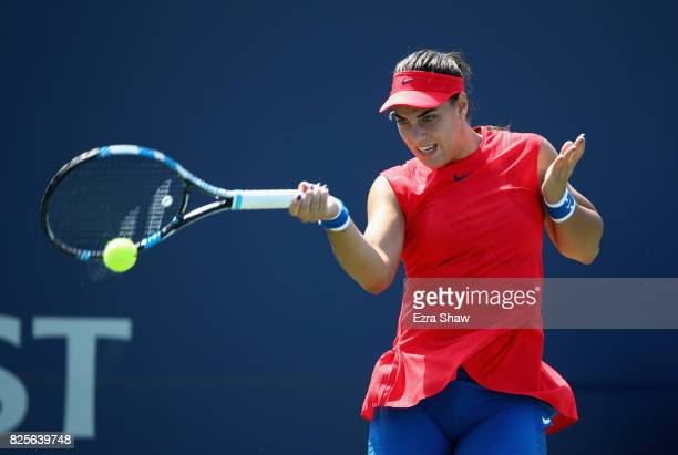 Ana Konjuh of Croatia returns a shot to Natalia Vikhlyantseva of Russia during Day 3 of the Bank of the West Classic at Stanford University Taube...
