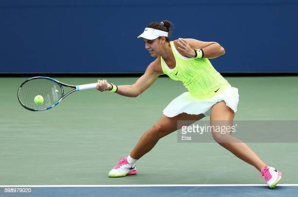 Ana Konjuh of Croatia returns a shot to Varvara Lepchenko of the United States during her third round Women's Singles match on Day Six of the 2016 US...