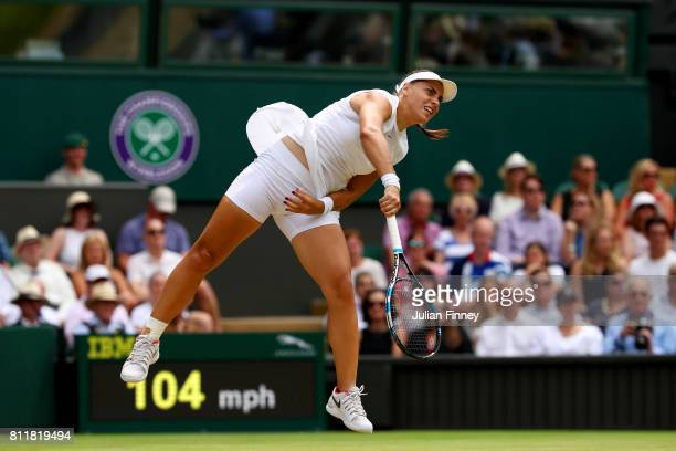 Ana Konjuh of Croatia serves during the Ladies Singles fourth round match against Venus Williams of The United States on day seven of the Wimbledon...