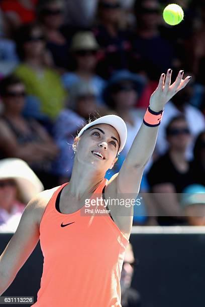 Ana Konjuh of Croatia serves during the womens singles final between Lauren Davis of the USA and Ana Konjuh of Croatia on Day 6 of the ASB Classic at...