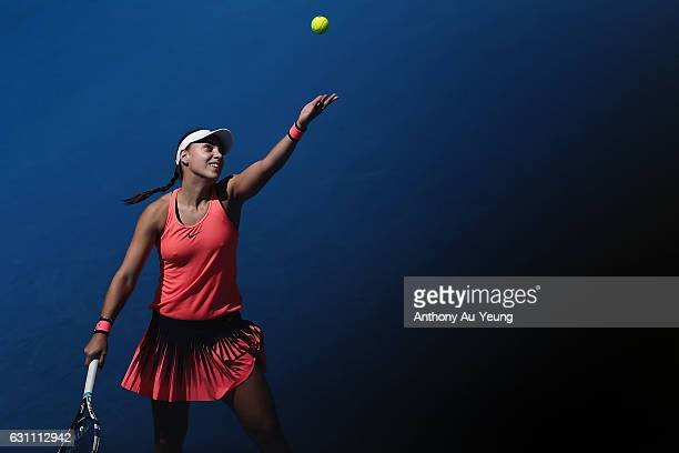 Ana Konjuh of Croatia serves in her final match against Lauren Davis of USA on day six of the ASB Classic on January 7 2017 in Auckland New Zealand