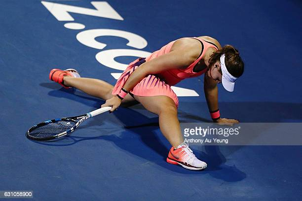 Ana Konjuh of Croatia stretches for a shot in her semi final match against Julia Goerges of Germany on day five of the ASB Classic on January 6 2017...