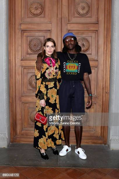 Ana Kras and Devonte Hynes arrive at the Gucci Cruise 2018 fashion show at Palazzo Pitti on May 29 2017 in Florence Italy