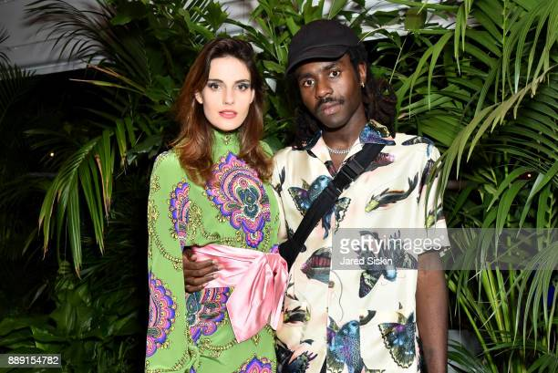 Ana Kras and Devonte Hynes attend the Gucci X Artsy dinner at Faena Hotel on December 6 2017 in Miami Beach Florida