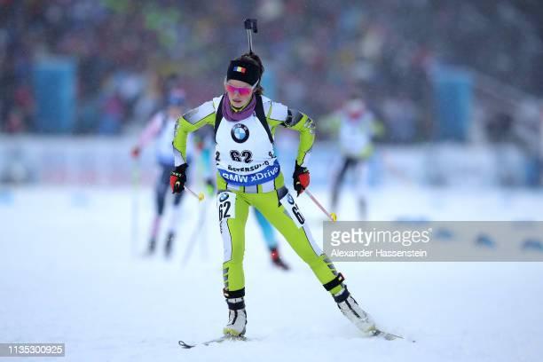Ana Larisa Cotrus of Roumanie competes at the IBU Biathlon World Championships Women 7.5km Sprint at Swedish National Biathlon Arena on March 08,...