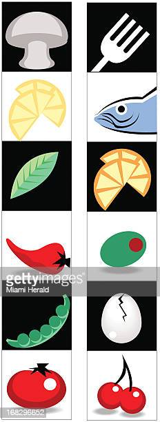 Ana Larrauri color illustration of various foods mushroom lemon fish olive egg tomato cherry etc