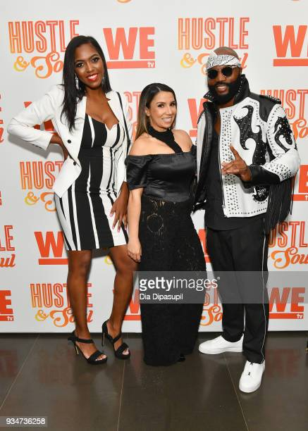 Ana Lavender Yessica Garcia and Chef Lawrence Page attend Wetv's Hustle Soul Season 2 Premiere Celebration on March 19 2018 in New York City