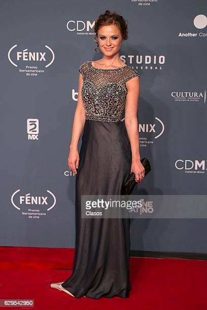 Ana Layevska poses for pictures during the red carpet of the Fenix Awards 2016 at Teatro de la Ciudad on December 07 2016 in Mexico City Mexico