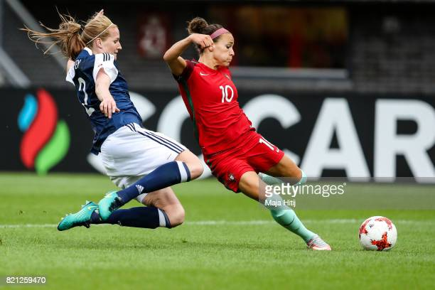 Ana Leite of Portugal scores her sides second goal during the UEFA Women's Euro 2017 Group D match between Scotland v Portugal at Sparta Stadion on...