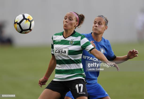 Ana Leite of Sporting CP and Dora Papp of MTK Hungaria FC in action during the UEFA Women's Champions League Qualifying match between Sporting CP and...