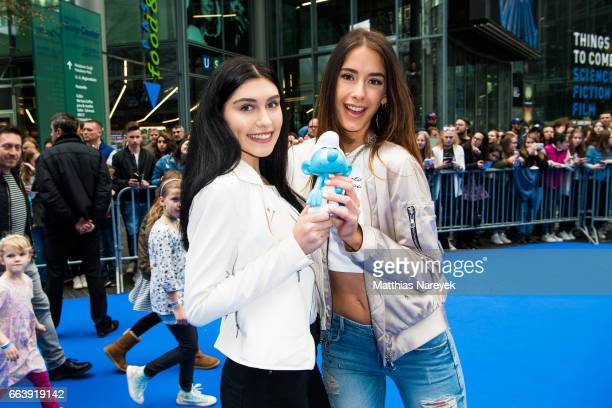 Ana Lisa Kohler and Brenda Huebscher attend the 'Die Schluempfe Das verlorene Dorf' Berlin Premiere at Sony Centre on April 2 2017 in Berlin Germany