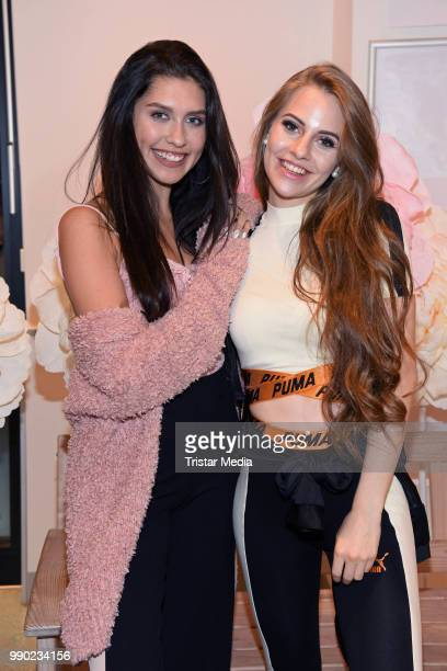 Ana Lisa Kohler and LisaMarie Schiffner attend the 'Lvly' care series launch by Paola Maria and DM Drugstore at Invalidenstrasse on July 2 2018 in...