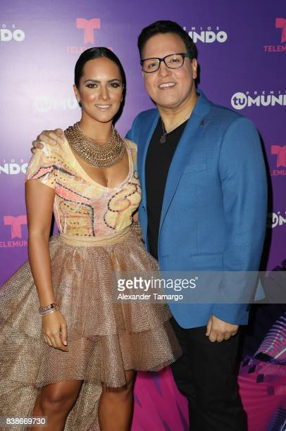 Ana Lorena Sanchez and Raul Gonzalez are seen in the press room during Telemundo's 'Premios Tu Mundo' at AmericanAirlines Arena on August 24 2017 in...