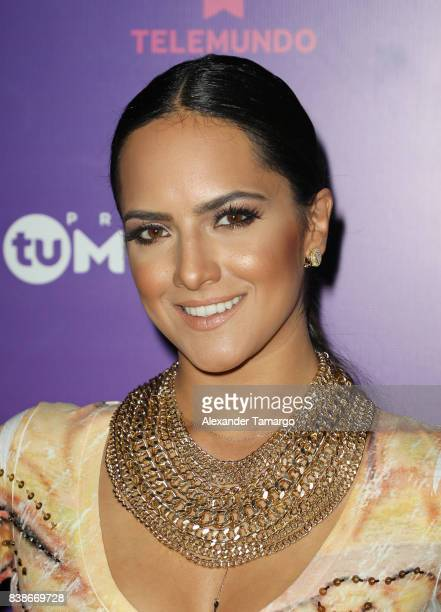 Ana Lorena Sanchez is seen in the press room during Telemundo's 'Premios Tu Mundo' at AmericanAirlines Arena on August 24 2017 in Miami Florida
