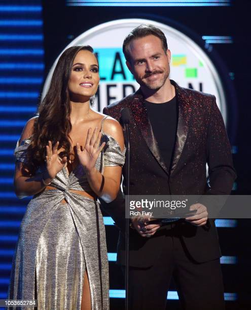 Ana Lucia Dominguez and Erik Hayser speak onstage during the 2018 Latin American Music Awards at Dolby Theatre on October 25 2018 in Hollywood...