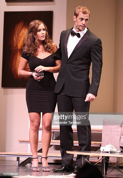 Ana Lucia Dominguez and William Levy are seen performing at the premiere of 'Un Amante a la Medida' at the Gusman Center for the Performing Arts on...