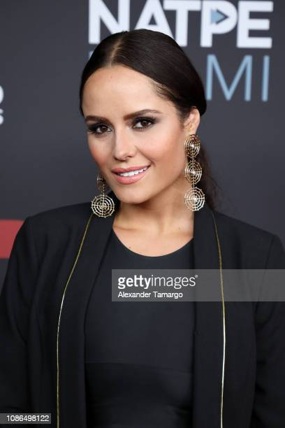 Ana Lucia Dominguez arrives at Telemundo Global Studios Celebration during NATPE Miami 2019 at the Eden Roc Hotel on January 22 2019 in Miami Beach...