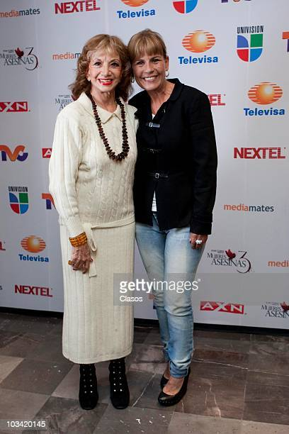 Ana Luisa Peluffo and Leticia Perdigon pose during the presentation of a chapter of the Mujeres Asesinas 3 on August 16, 2010 in Mexico City, Mexico.