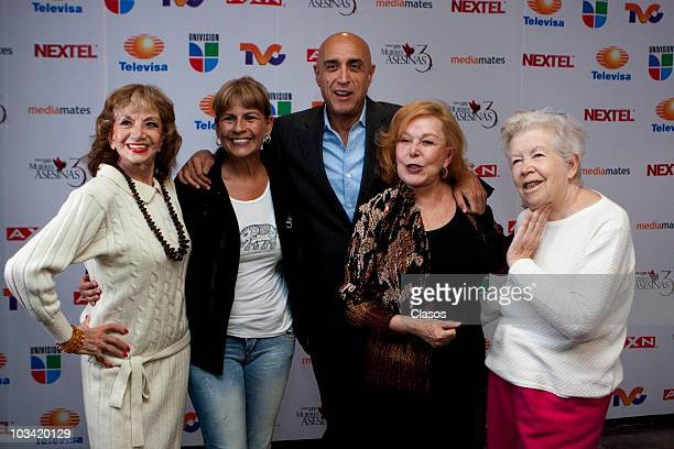 Ana Luisa Peluffo, Leticia Perdigon, Pedro Torres, Irma Lozano and Lourdes Canale pose during the presentation of a chapter of the Mujeres Asesinas 3...