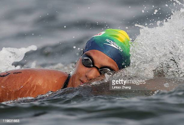 Ana Marcela Cunha of Brazil competes in the Women's Open Water 25km during Day Eight of the 14th FINA World Championships at the Jinshan City Beach...