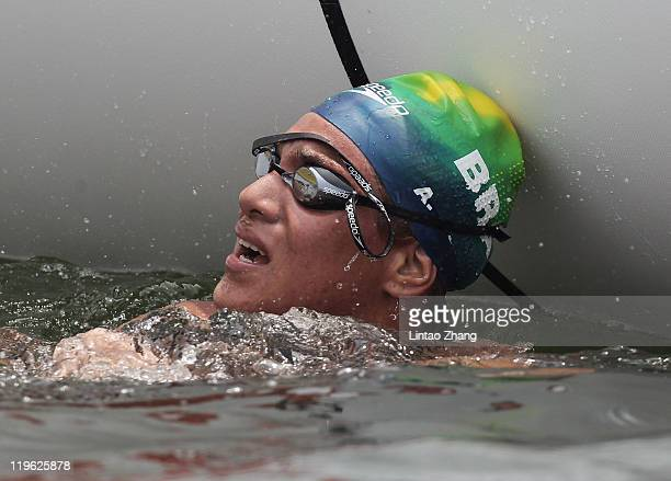 Ana Marcela Cunha of Brazil looks on as she wins gold in the Women's Open Water 25km during Day Eight of the 14th FINA World Championships at the...