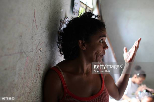 """Ana Marcia Da Silva speaks about the hardships of life in the recently """"pacified"""" Babilônia slum, or favela, on December 3, 2009 in Rio de Janeiro,..."""