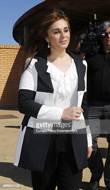 Ana Maria Aldon is seen after Jose Ortega Cano goes back to prison on April 8 2015 in Zaragoza Spain