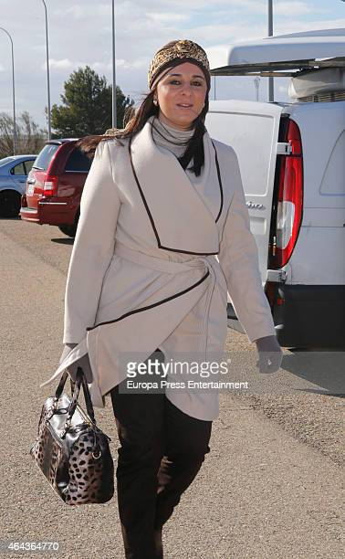 Ana Maria Aldon is seen arriving at prison after Jose Ortega Cano was allowed out on leave for six days for his children's birthdays on February 24...