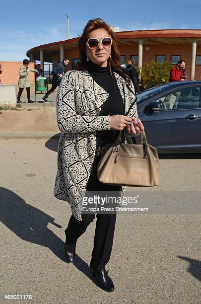 Ana Maria Aldon is seen leaving prison after Jose Ortega Cano went back to prison on March 2, 2015 in Zaragoza, Spain. The former bullfighter was...
