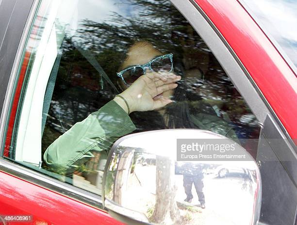 Ana Maria Aldon is seen on the day that the ex bullfighter Jose Ortega Cano enters prison for reckless homicide and reckless driving in a car...