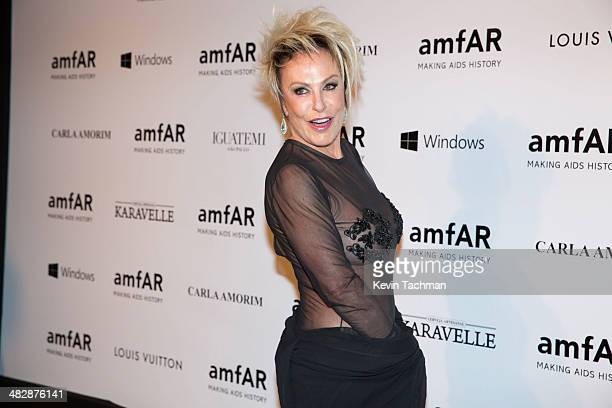 Ana Maria Braga attends the 2014 amfAR's Inspiration Gala Sao Paulo on April 4 2014 in Sao Paulo Brazil