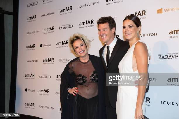 Ana Maria Braga Rodrigo Faro and Vera Viel attend the 2014 amfAR's Inspiration Gala Sao Paulo on April 4 2014 in Sao Paulo Brazil