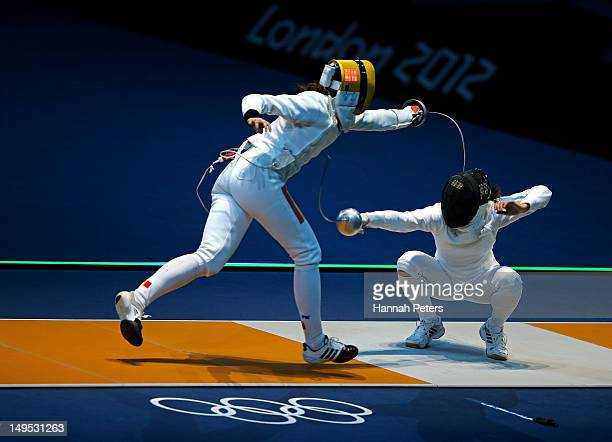 Ana Maria Branza of Romania competes against Yana Shemyakina of Ukraine during the Women's Epee Individual Fencing round of 16 on Day 3 of the London...
