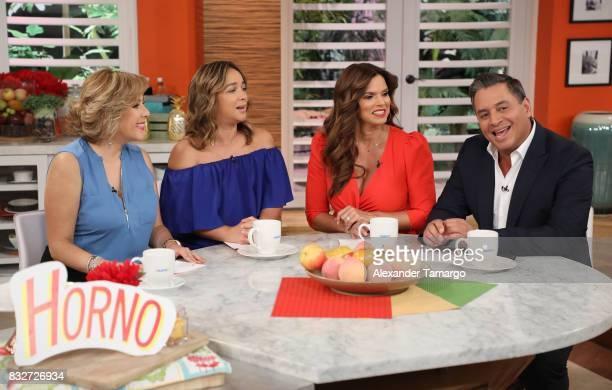 Ana Maria Canseco Adamari Lopez Rashel Diaz and Daniel Sarcos are seen on the set of 'Un Nuevo Dia' at Telemundo Studios on August 16 2017 in Miami...