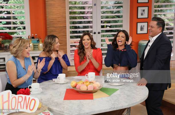 Ana Maria Canseco Adamari Lopez Rashel Diaz Zuleyka Rivera and Daniel Sarcos are seen on the set of 'Un Nuevo Dia' at Telemundo Studios on August 16...