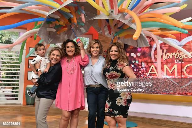 Ana Maria Canseco and Carolina Sandoval attends the Un Nuevo Dia Celebrates Angelica Vale's Son's Birthday at Telemundo Studio on August 11 2017 in...