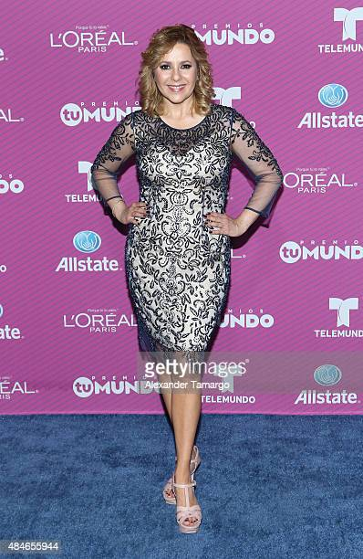 Ana Maria Canseco arrives at Telemundo's Premios Tu Mundo Awards at American Airlines Arena on August 20 2015 in Miami Florida